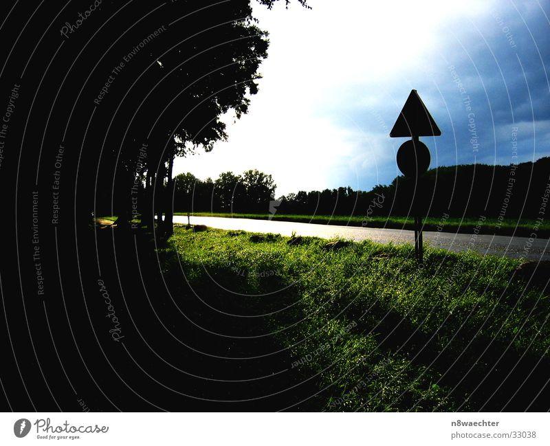 Unwetter droht Himmel Sonne grün blau Wolken Straße dunkel Wiese hell glänzend bedrohlich Verkehrsschild Waldrand