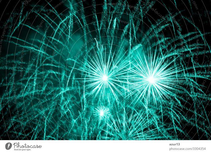 Luxury fireworks event sky show with turquoise big bang stars Nachtleben Entertainment Party Veranstaltung Feste & Feiern Silvester u. Neujahr Jahrmarkt Kunst