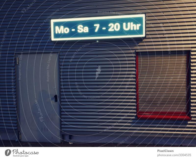 Öffnungszeiten blau Stadt Lifestyle Stil Gebäude Fassade Stimmung Design verrückt kaufen