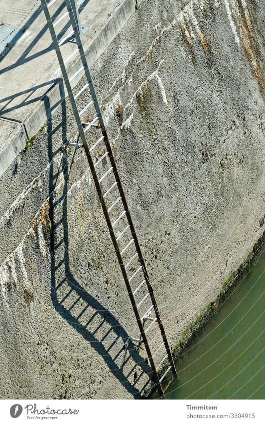 Zugang grün schwarz Gefühle grau Metall hoch Leiter anstrengen Kanal Heidelberg Binnenschifffahrt Leitersprosse Staustufe Neckar