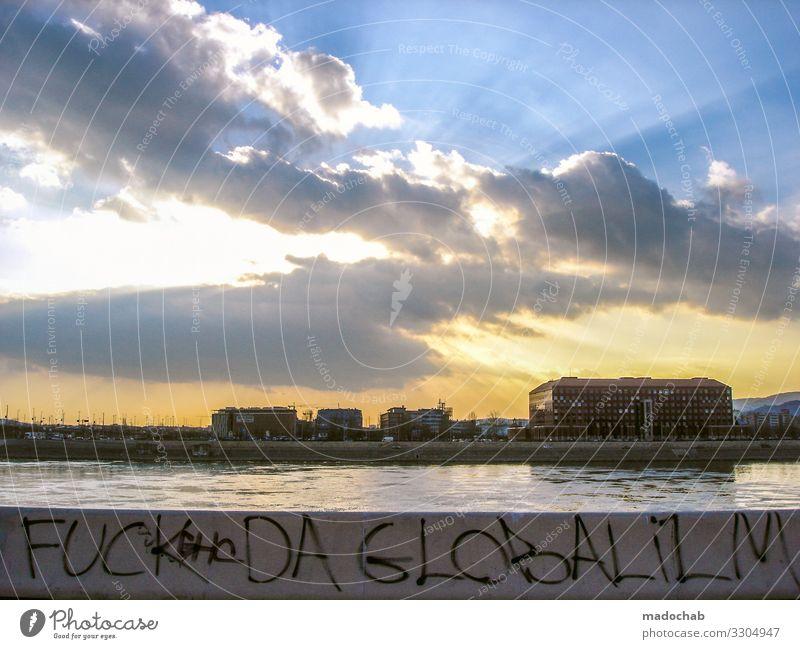 FUCK DA GLOBALISM Stil Kultur Jugendkultur Subkultur Budapest Stadt Skyline Bauwerk Gebäude Architektur Zeichen Schriftzeichen Graffiti Klima Politik & Staat