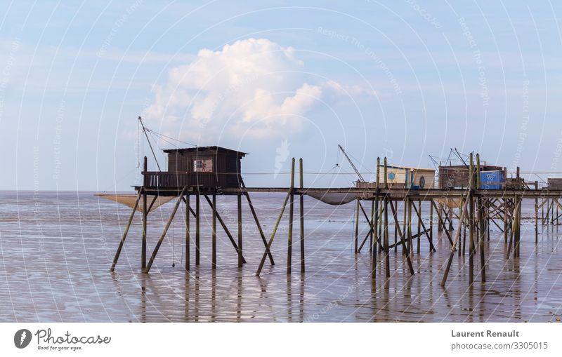 Hütten der Fischer in der Bucht Ferien & Urlaub & Reisen Tourismus Meer Natur Landschaft Küste maritim blau Frankreich Aquitaine Atlantik charente