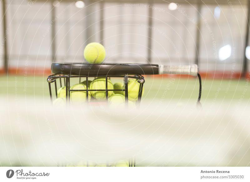 Paddle-Tennisschläger, Bälle und Korb auf dem Platz Leben Sport Ball Fitness Paddeltennis Padel Stillleben Objektfotografie Remmidemmi Gerichtsgebäude Spielfeld