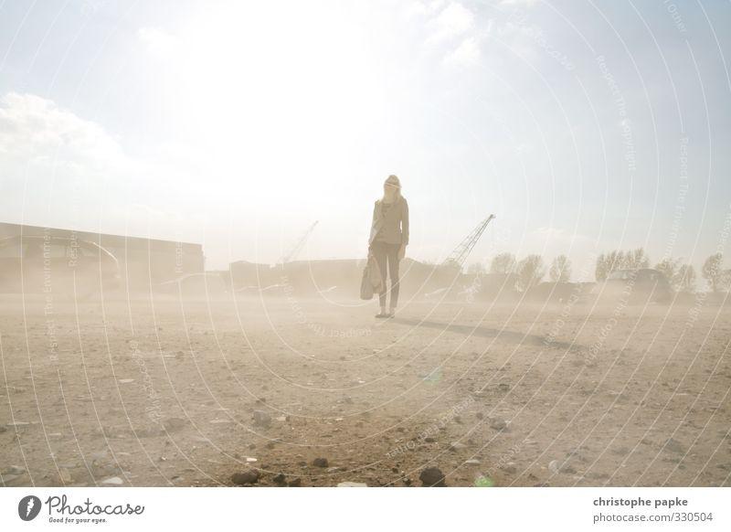 Viel Staub aufgewirbelt kaufen feminin Junge Frau Jugendliche Erwachsene 1 Mensch Sand Sturm Wärme Dürre Wüste stehen trocken Einsamkeit staubig Brachland
