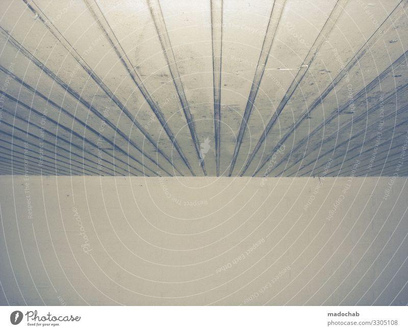 Linierte Decke mit Wand - Grafischer Linien Trash an gedeckten Farben grafisch Muster Zentralperspektive trishig Strukturen & Formen abstrakt gedeckte Farben