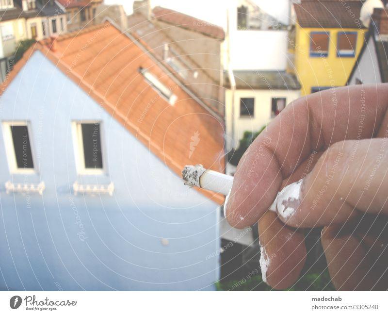Pause Lifestyle Häusliches Leben Wohnung Renovieren Umzug (Wohnungswechsel) einrichten Hand Finger Haus Einfamilienhaus Bauwerk Gebäude Architektur frei oben