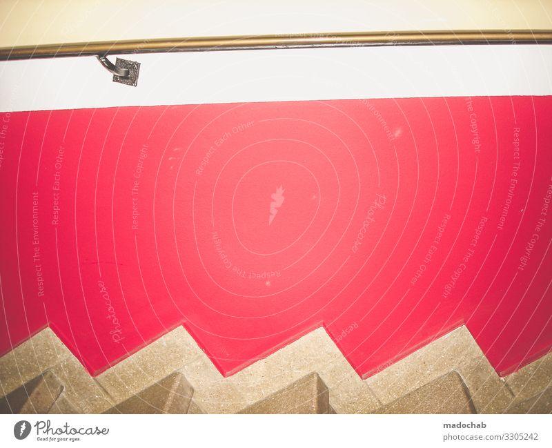 Sydney Mauer Wand Treppe Ornament Linie Streifen ästhetisch eckig hoch gold rot skurril Symmetrie Wege & Pfade Farbfoto mehrfarbig Innenaufnahme abstrakt Muster