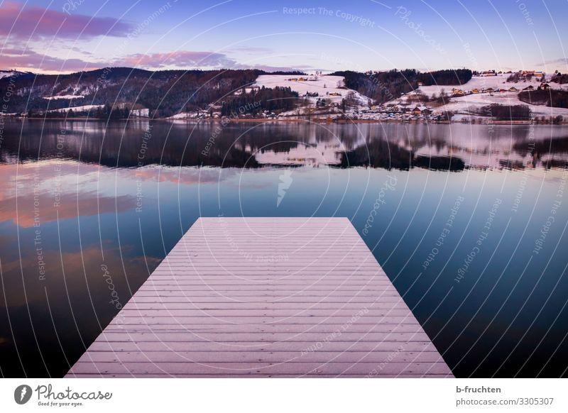 Morgendämmerung am See Himmel Ferien & Urlaub & Reisen Natur Wasser Landschaft Erholung Wolken Einsamkeit ruhig Wald Winter Umwelt Tourismus Freiheit Stimmung