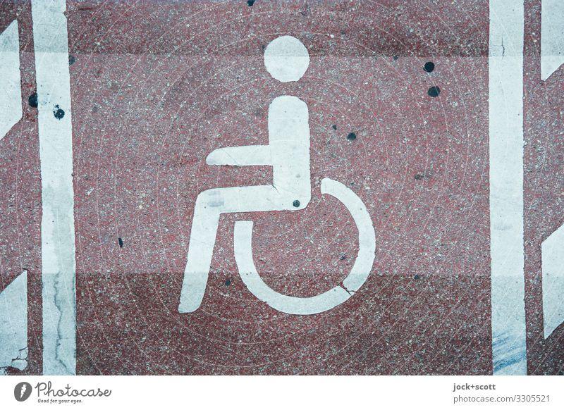 Parkplatz für behinderte Personen Schilder & Markierungen Behindertengerecht Piktogramm authentisch dreckig einfach frei groß unten Solidarität Design