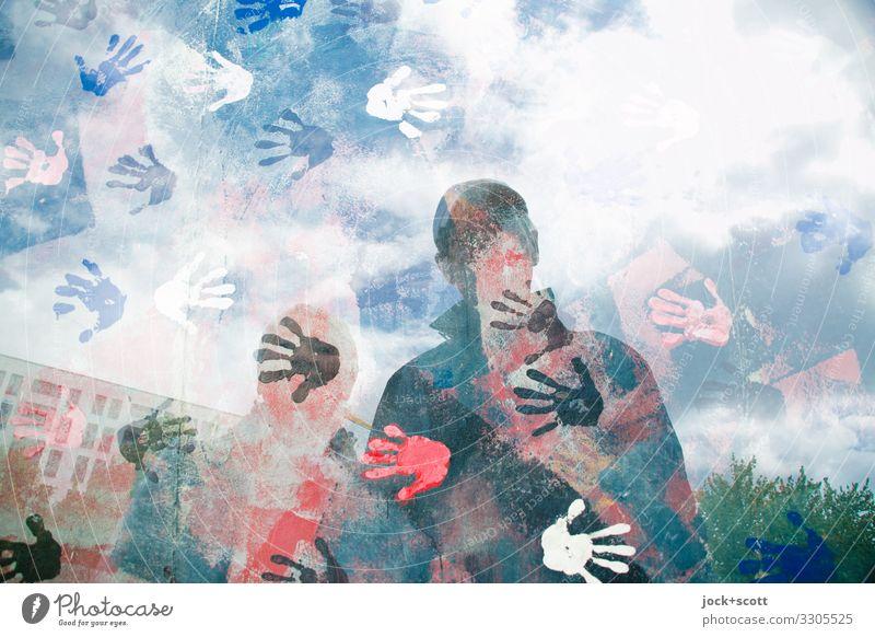 das ist Do + Jo... Sightseeing Städtereise Hand Grafik u. Illustration Straßenkunst berühren außergewöhnlich Zusammensein Partnerschaft Surrealismus