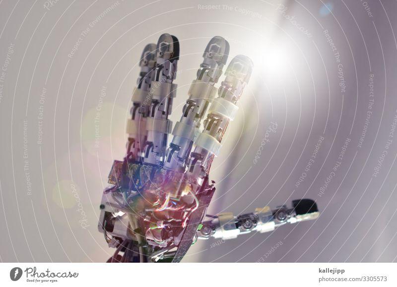 künstliche intelligenz? Mensch Hand Metall leuchten Technik & Technologie Telekommunikation Zukunft Finger Industrie Netzwerk Internet Informationstechnologie