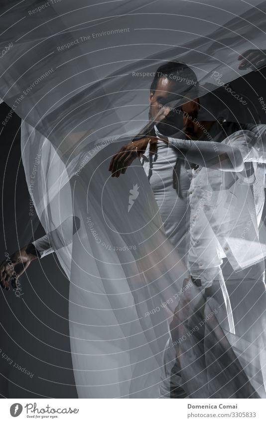 Weißer Seidenschleier Stil Design ruhig Mensch maskulin Junger Mann Jugendliche Erwachsene 1 Künstler Kultur Urelemente Wind Mode Stoff langhaarig Rastalocken