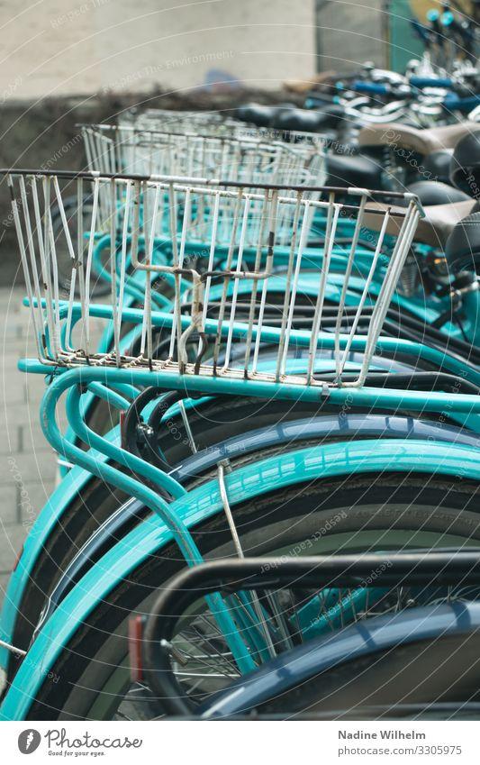 White bicycle basket Fahrradfahren München Deutschland Europa Stadt Stadtzentrum Fahrradkorb Kunststoff warten alt glänzend blau grün weiß Umwelt Umweltschutz
