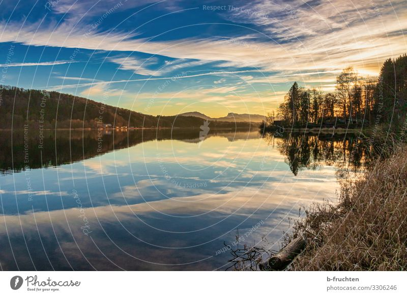 Abendstimmung am See Himmel Ferien & Urlaub & Reisen Natur Pflanze Landschaft Erholung Wolken ruhig Freude Winter Berge u. Gebirge Herbst Glück Tourismus