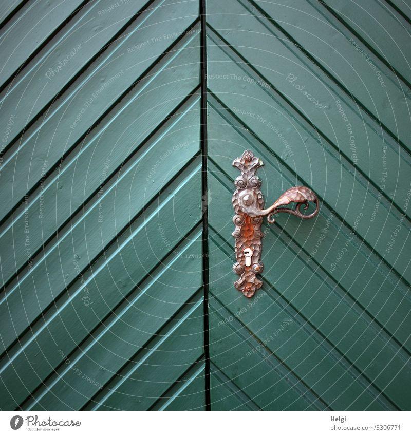 grüne Holztür mit diagonalem Muster und Türgriff aus Metall Griff Schloss alt authentisch außergewöhnlich elegant einzigartig braun türkis Sicherheit Schutz
