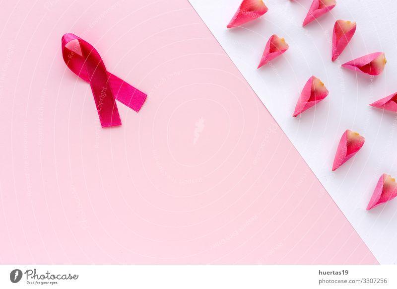Rosa Farbband auf farbigem Hintergrund. Krebs Lifestyle Gesundheit Gesundheitswesen Behandlung Krankheit Medikament Frau Erwachsene Frauenbrust Schnur rosa weiß