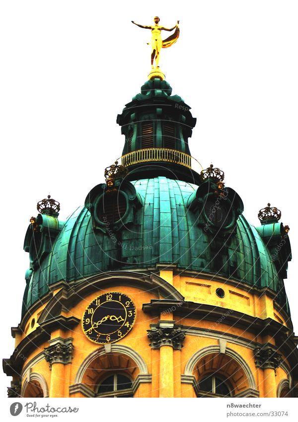 Charlottenburg 15:40 grün gelb Fenster Architektur gold Dach Turm Uhr Dekoration & Verzierung Burg oder Schloss Kuppeldach Patina