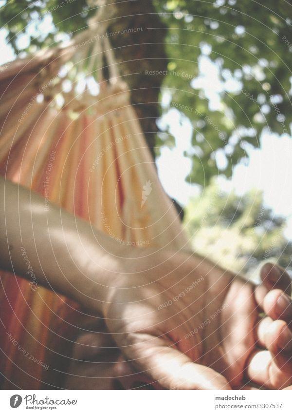 Hängematte Portrait chillen ausruhen entspannen Sommer Hitze Urlaub Freizeit Feierabend sich[Akk] entspannen im Freien Lifestyle Erholung jung Person Glück