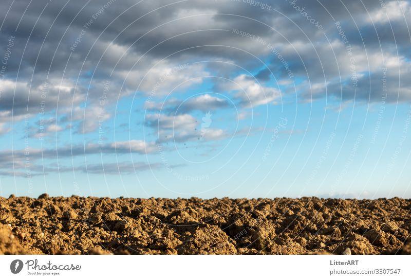 """ERDE UNSER Umwelt Natur Erde Himmel Horizont Frühling Klimawandel Schönes Wetter Dürre Feld Ackerboden brachland """"verbrannte erde,"""" """"fruchtbare erde,"""" blau"""