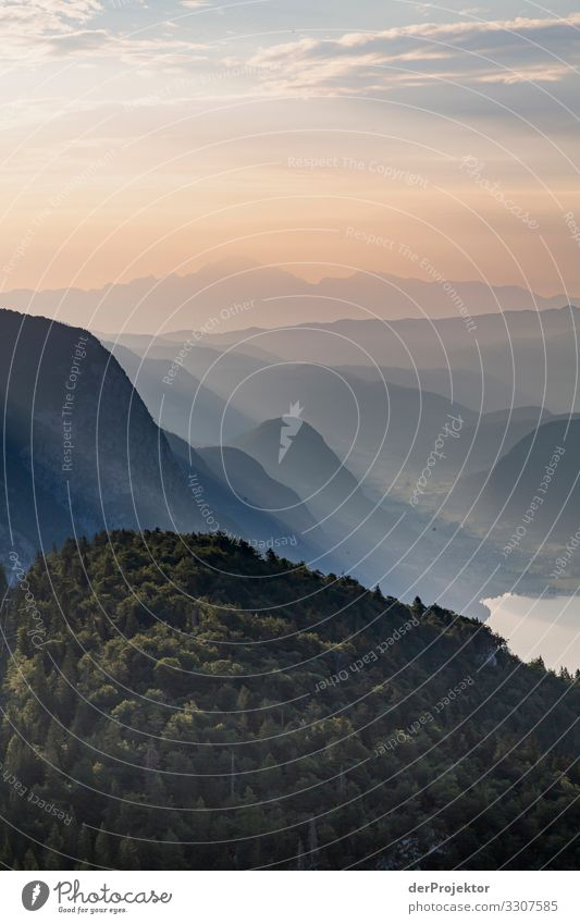 Sonnenaufgang im Triglav Nationalpark Ferien & Urlaub & Reisen Natur Sommer Pflanze Landschaft Tier Freude Wald Ferne Berge u. Gebirge Umwelt Tourismus