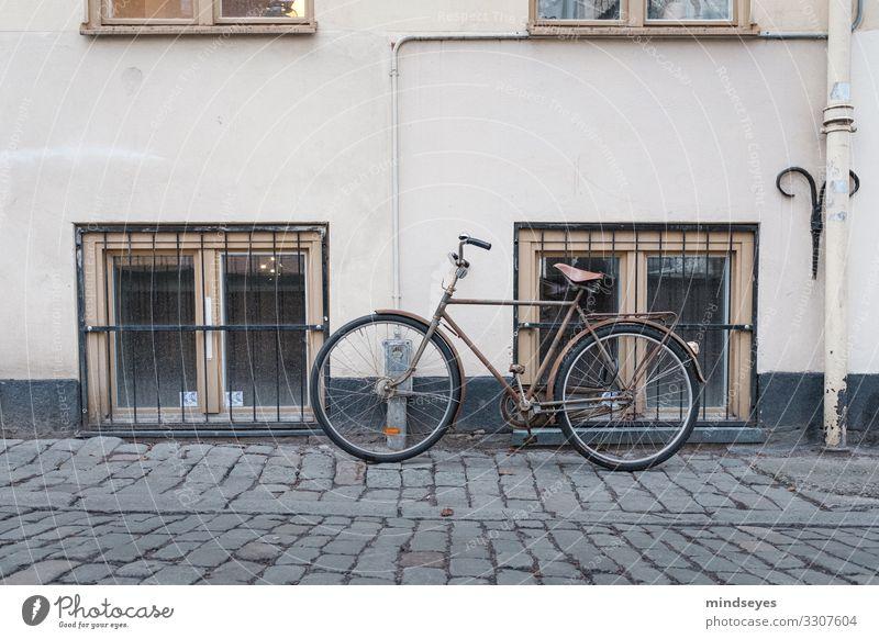 Beiges Fahrrad lehnt an Hauswand Stadt Einsamkeit Winter Fenster Stil Tourismus Fassade Häusliches Leben Freizeit & Hobby retro elegant Fahrradfahren