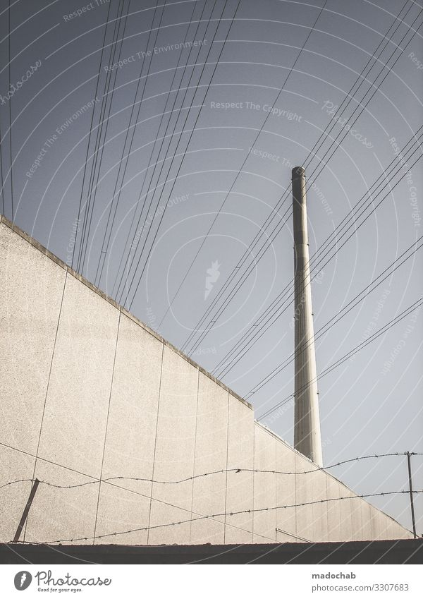 #3 Stadt Architektur Gebäude Fassade Energiewirtschaft Technik & Technologie Industrie Elektrizität Turm Bauwerk Zaun Ende trashig Schornstein