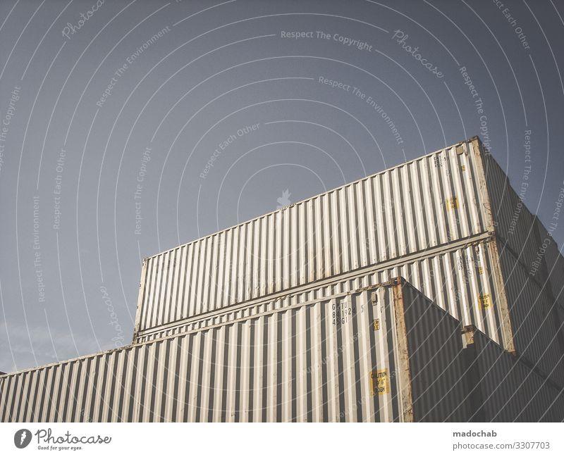 Container Güterverkehr & Logistik Dienstleistungsgewerbe Verpackung Metall eckig kaufen Farbfoto Gedeckte Farben Außenaufnahme abstrakt Muster
