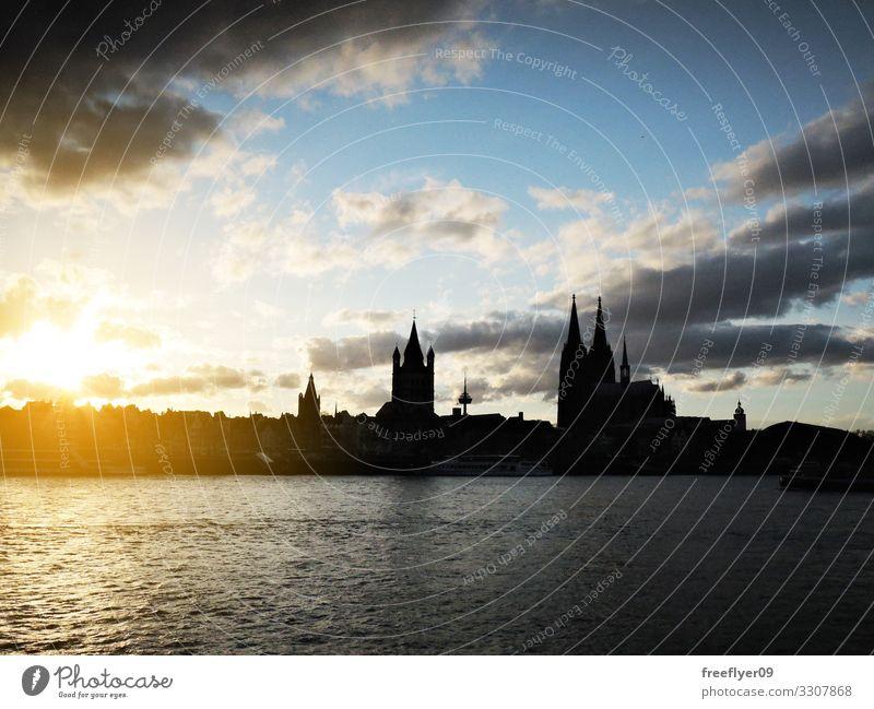 Silhouette des Kölner Doms und seiner Umgebung Sonne Wärme Deutschland Skyline Kirche Rathaus Gebäude hoch urban Kathedrale Großstadt Stadtbild Rhein Kuppel