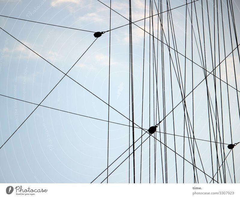 Seilschaften #19 Himmel Wolken Schönes Wetter Hamburg Schifffahrt Segelschiff An Bord Takelage Tau maritim Vertrauen Sicherheit Schutz Zusammensein Leben