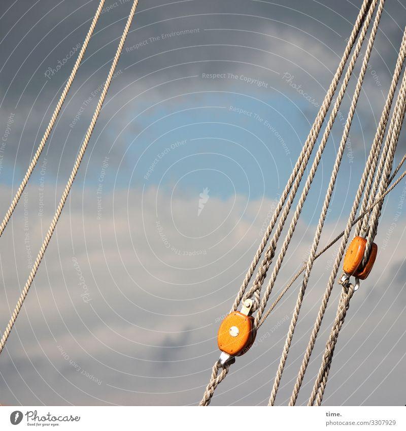 Seilschaften #22 Himmel Wolken Schönes Wetter Sturm Schifffahrt Segelschiff An Bord Rolle Seilrolle Linie hängen bedrohlich dunkel maritim Kraft Vertrauen