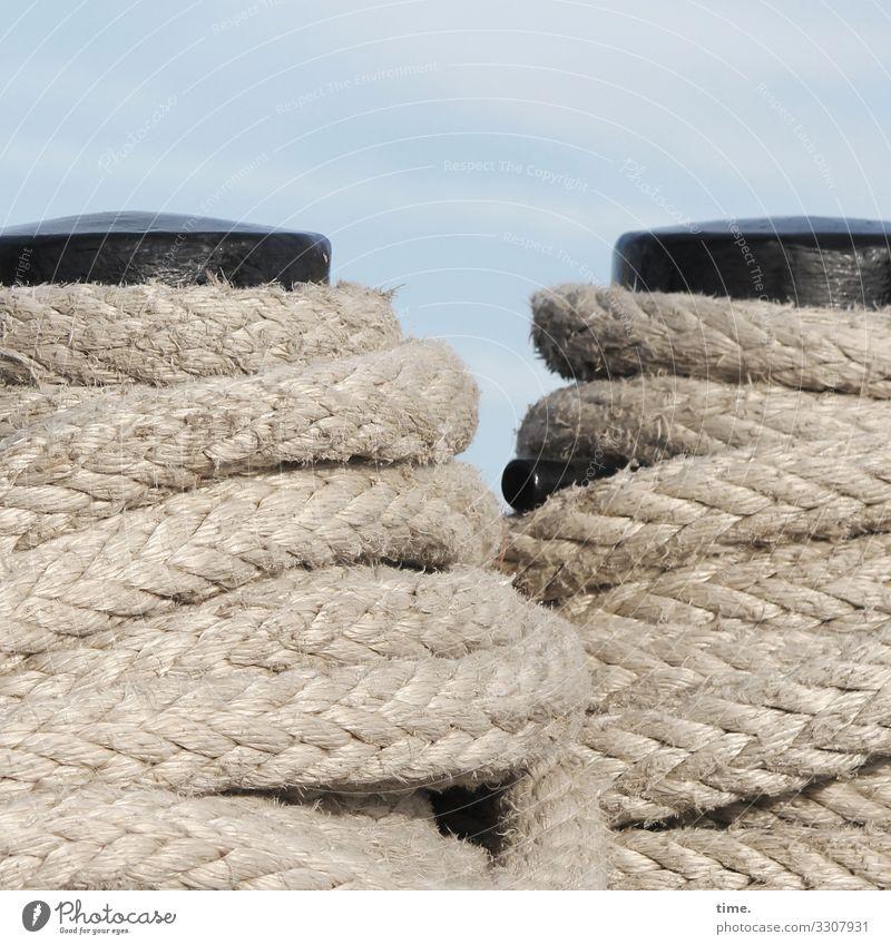 Seilschaften #21 Himmel Schönes Wetter Schifffahrt Hafen Festmacher wickeln fest maritim Kraft Vertrauen Sicherheit Schutz Zusammensein Gelassenheit geduldig