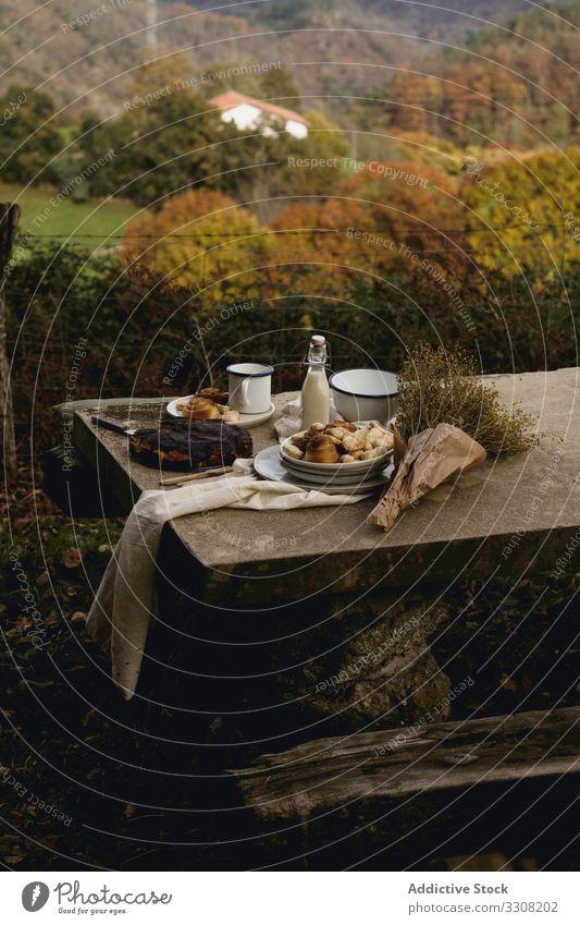 Tisch mit Backwaren für ein Picknick im Freien Gebäck Bäckerei Kuchen süß Pasteten Flasche melken Gras Herbst Park ländlich stylisch selbstgemacht frisch