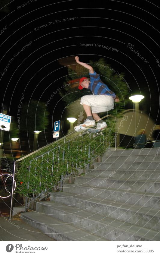 Ollie 9er Nacht Weitwinkel Sport Skateboarding Treppe