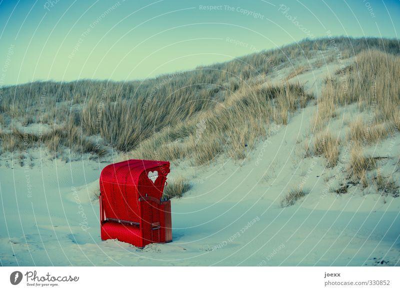 Einladung Himmel Ferien & Urlaub & Reisen blau grün schön weiß Sommer rot Landschaft Strand Liebe Gras Glück Wind Idylle Herz
