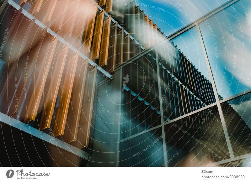 Abstrakte Architektur Stadt Gebäude modern Design Farbe Inspiration Perspektive Ferne Surrealismus Wandel & Veränderung Häusliches Leben Zukunft Glasfassade