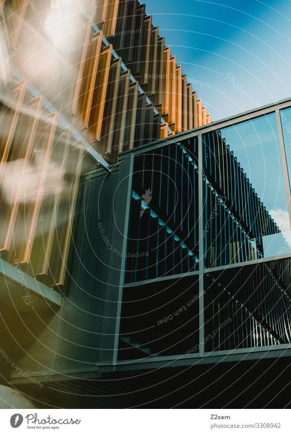 Abstrakte Architektur Stadt Bauwerk Gebäude modern Design Farbe Inspiration Perspektive Ferne Surrealismus Wandel & Veränderung Häusliches Leben Glasfassade