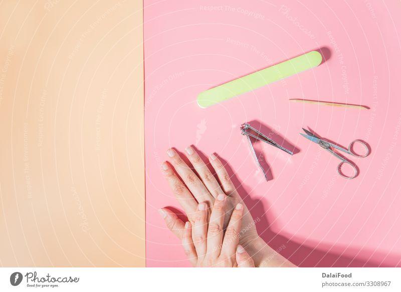 Nagelwerkzeuge Draufsicht Hintergrund Flasche Design schön Maniküre Behandlung Spa Tisch Arbeit & Erwerbstätigkeit Werkzeug Frau Erwachsene Hand Kunst Mode