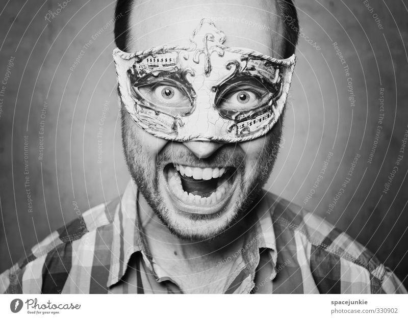 600 Quatschfotos Mensch maskulin Junger Mann Jugendliche Erwachsene Zähne Bart 1 30-45 Jahre Hemd Maske schwarzhaarig Dreitagebart Vollbart schreien gruselig