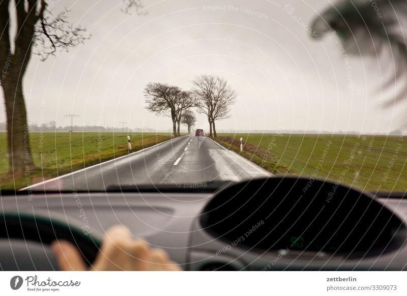 Landstraße nach Hause Ausflug PKW Autobahn fahren Ferne Bewegung Geschwindigkeit Ferien & Urlaub & Reisen Reisefotografie Straße geradeaus Tourismus