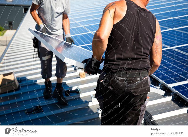 Anpacken für den Klimaschutz Mensch Erwachsene Zusammensein Arbeit & Erwerbstätigkeit oben maskulin Energiewirtschaft Erfolg authentisch Schönes Wetter Dach