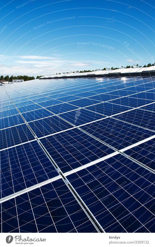 Photovoltaikanlage auf Industriedach Energiewirtschaft Unternehmen Erneuerbare Energie Sonnenenergie Himmel Wolkenloser Himmel Sommer Klimawandel Schönes Wetter