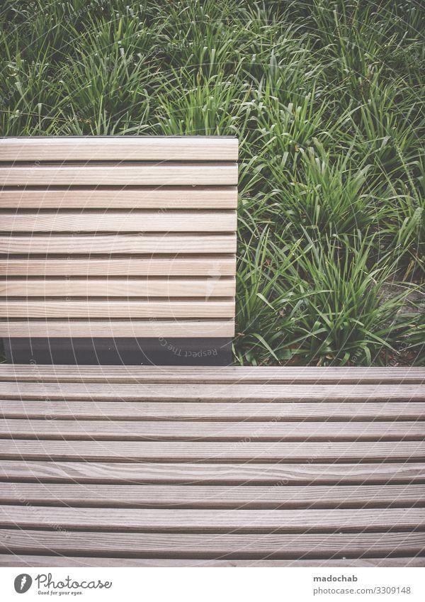 = Umwelt Natur Gras Holz Linie Ordnungsliebe Reinlichkeit Sauberkeit ästhetisch Einsamkeit Zufriedenheit Pause Perspektive planen Ferne Symmetrie graphisch