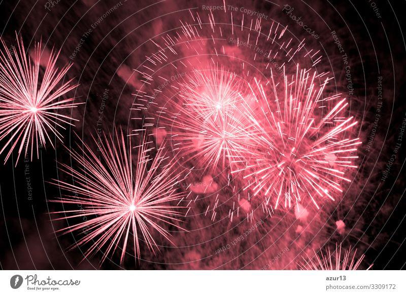 Luxury fireworks event sky show with red big bang stars Nachtleben Entertainment Party Veranstaltung Feste & Feiern Silvester u. Neujahr Jahrmarkt Show Angst