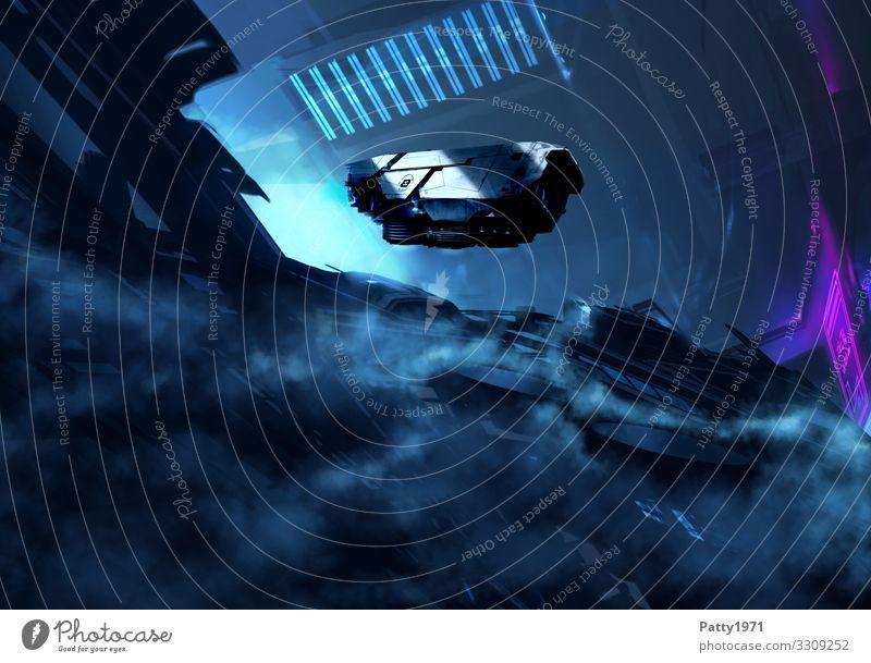 Raumschiff gleitet durch dunkle, dystopische, zerstörte Stadtlansdschaft der Zukunft. Science Fiction Konzept. Technik & Technologie Fortschritt High-Tech