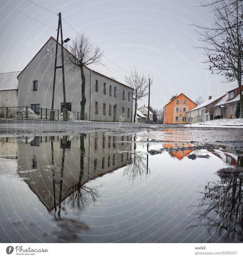 Querulant Wasser Baum Haus Winter Fenster Straße Schnee Gebäude Deutschland orange grau Eis Luft Schönes Wetter nass Dach