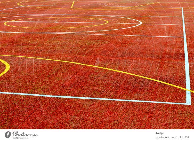 Roter Basketballplatz Freude Erholung Freizeit & Hobby Spielen Sport Fußball Stadion Schule Park Spielplatz Straße Linie gelb rot weiß Farbe Konkurrenz