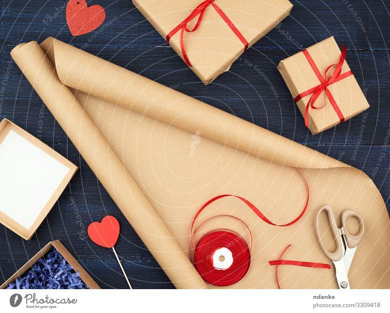 Rolle aus braunem Kraft-Verpackungspapier Design Handarbeit Dekoration & Verzierung Feste & Feiern Hochzeit Geburtstag Schere Seil Container Rudel Papier Paket