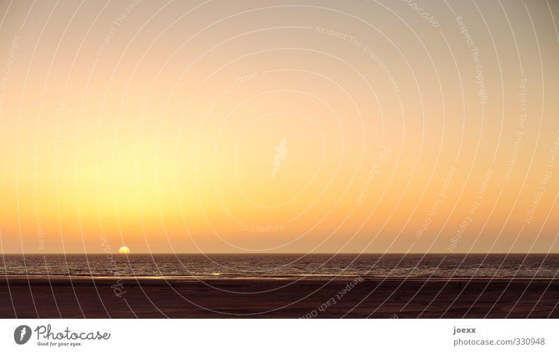 __.___________ Himmel Ferien & Urlaub & Reisen Wasser Sonne Meer ruhig Strand schwarz gelb Ferne Wärme Horizont braun orange Idylle Insel