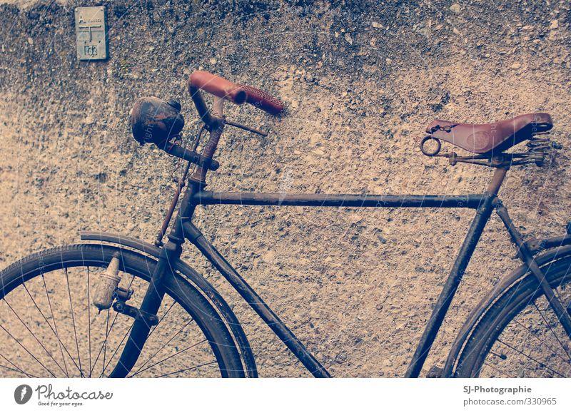 old bicycle Freizeit & Hobby Fahrradtour Fahrradfahren Verkehr Verkehrsmittel Fahrzeug alt blau braun schwarz Retro-Farben retro Wand Fahrradsattel
