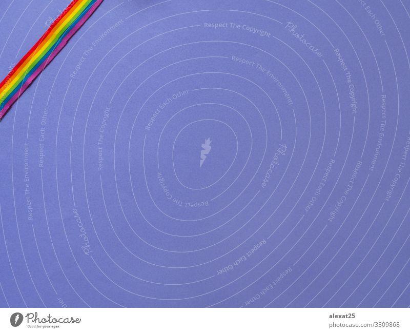 Violetter Hintergrund mit lgbtq-Farbband und Kopierraum Design Freiheit Mensch Homosexualität Frau Erwachsene Fahne Liebe Freundlichkeit Respekt Stolz Frieden